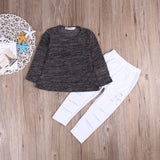 kids girls set clothes 2pcs Toddler Kids Baby Girls Outfit T-shirt Tops+Hole Long Pants Leggings Clothes Set
