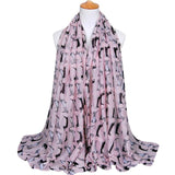 Women's Fashion Accessories Dachshund Dog Print Long Voile Scarf Shawl Scarves