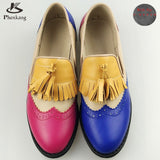 Genuine leather big woman US size 11 designer vintage flat shoes round toe handmade red blue yellow oxford shoes for women fur