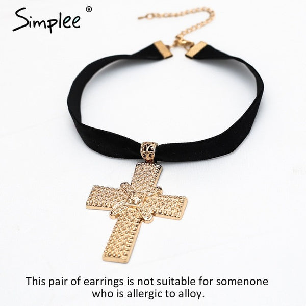 Simplee Vintage jewelry Velvet choker accessories Golden statement womens clothing accessories 2017 cross pendant accessories