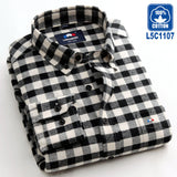 Langmeng 100% cotton spring  2016 long sleeve casual shirt mens flannel dress shirts warm clothes camisa masculina chemise homme