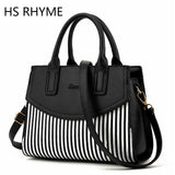 HS RHYME American LUXURY Style  Women Shoulder Bag Brand Designer Stripe Handbags Skin Crossbody Bag
