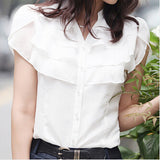 Summer Butterfly Sleeve Ruffled Collar Women V-neck Chiffon Shirts Size S-3XL Korean Fashion Lady Loose Casual Blouse White/Blue