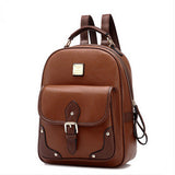 PU Leather women backpack vintage Solid backpacks for teenage girls school bags preppy style mochila feminina backpack