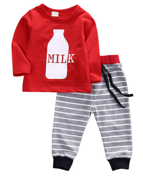 Infant Baby Girl Boys Printing Long Sleeve Top T-shirt+Striped Pants Leggings Kids Clothes Set Nightwear Sleepwear