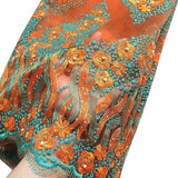 Orange Lilac African Lace Fabrics Fushia Green Yellow Blue Nigerian French Lace Fabric, 2016 High Quality Beaded Tulle Fabric