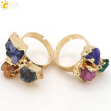 ring - Fashion accessories ,clothing, jewelry, CSJA Special Power Finger Ring Natural Reiki Chakra Healing Stones Beads Gold Plated Women Lover Party Jewelry Irregular E098 - clothing, Gorgeous things online - gorgeous things online