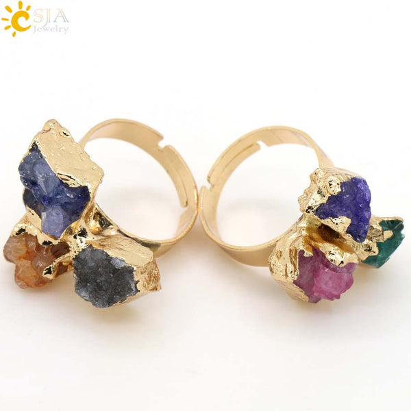 CSJA Special Power Finger Ring Natural Reiki Chakra Healing Stones Beads Gold Plated Women Lover Party Jewelry Irregular E098