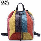 Walk Arrive Genuine Leather Women Backpack Oracle Embossed Cow Leather Vintage School Bag Fashion Travel Bag