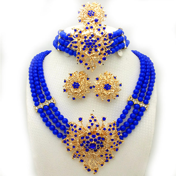 New Wedding African Jewelry Sets for women fashion jewelry 2017 gold plated Nigerian Beads Jewelry Set Necklace ring earrings