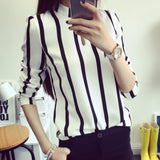 New Women Office Shirts Hollow Out Long Sleeve Striped Ladies Chiffon Blouse 2 Colors