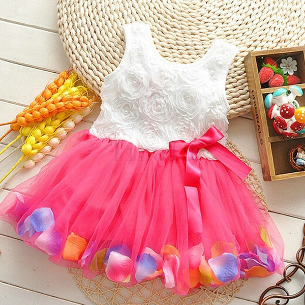New Girls' Pink Rose Petal Hem Dress Girls Floral Clothes  RED Colors Cute Kids Clothes Princess Dress
