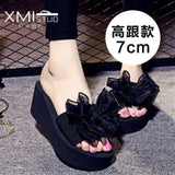 2017 New Summer bohemia Women sandals slippers fashion rainbow leopard muffin sandals home shoes wedge heels beach sandals