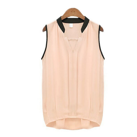 NEW Summer Fashion Women Blouses Casual V-neck Sleeveless Chiffon Vest Blouse Tee Loose Tulle Shirt Top