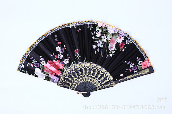 Summer Style Folding Hand Held Fan Fabric Floral Wedding Dance Favor Pocket Fan