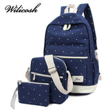 Wilicosh 3pcs/set 2017 Canvas Fashion Backpack for Teenage Grils New Casual Women Backpack Preppy Dot Computer Travel Bag HC5045