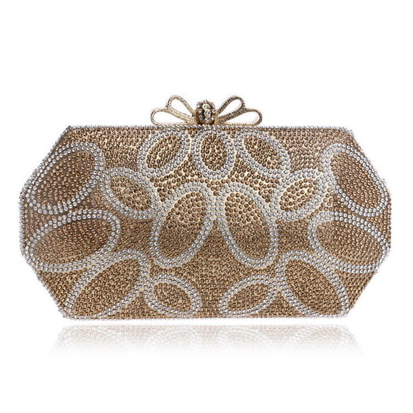 New Arrival One Side Diamonds Women Evening Bags Bow Lady Rhinestones Purse Evening  Bags Chain Shoulder For Wedding