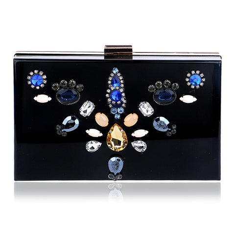 2016 Luxury Wedding Party Evening Bags Exquisite Diamond Flower Girl New Acrylic Clutch Packet High Quality Shoulder Bags Women