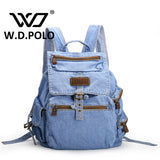 W.D POLO Gava Jeans leather Women Backpack high quality chic brand design lady street simple fabric school bags hot M2181