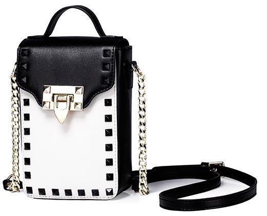 bag - Fashion accessories ,clothing, jewelry, Famous Brand Design Genuine Leather Fashion Women's White Black Panelled Rivet Messenger Chains Crossbody Bags Phone Bags Totes - clothing, Gorgeous things online - gorgeous things online