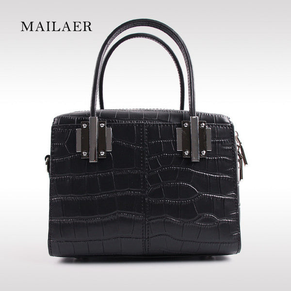 MAILAER 2017 New Woman Genuine Leather Embossed Stone Pattern Portable Handbag Shoulder Bag Messenger Bag Mini Cute Totes Bag