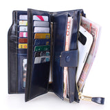 Womens Genuine Leather Wallet and Purse Clutch Large Capacity Luxury Long Business Wallet Zipper Pocket  Female Card Holder hasp