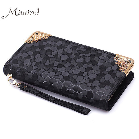 2016 Luxury Vintage Brand Women Stone Leather Long Slim Wallet Female Wristlet Clutch Bag Purse Coin Card Holder Thin Portomonee