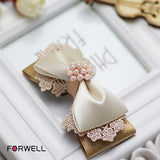 Forwell Hot Hair Ornaments Composite Bow Pearl Hairpins Girls Hair Accessories Gold Bud Silk Hair Clip for DIY Girls Headwear