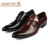 GRIMENTIN brand luxury mens party shoes genuine leather comfortable fashion buckle men dress shoes flats for wedding business