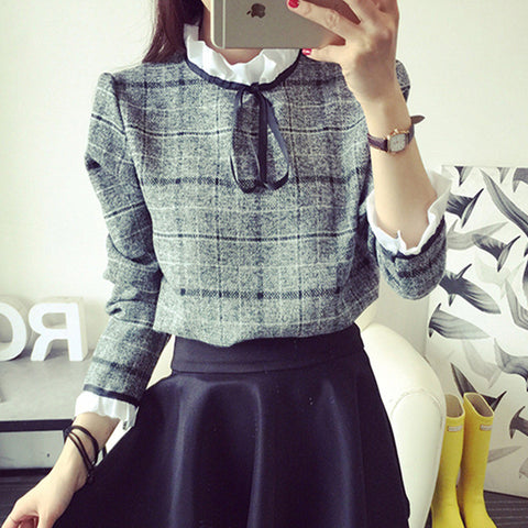 2016 New Autumn Blouses Women's Shirts Casual Cotton Ruffled Plaid Tops Feminina Blusas Patchwork Femme Office Shirt Blusas
