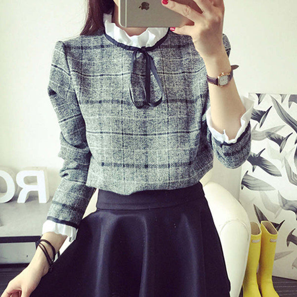 top - Fashion accessories ,clothing, jewelry, 2016 New Autumn Blouses Women's Shirts Casual Cotton Ruffled Plaid Tops Feminina Blusas Patchwork Femme Office Shirt Blusas - clothing, Gorgeous things online - gorgeous things online
