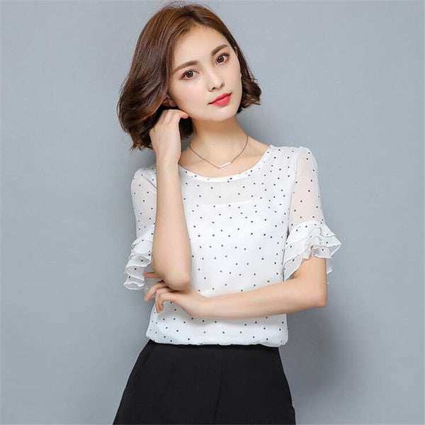 New 2017 Summer Blouse Ruffles Short Sleeve Women Chiffon Blouses Polka Dot Plus Size Women Clothing Ladies Tops Shirts 32683