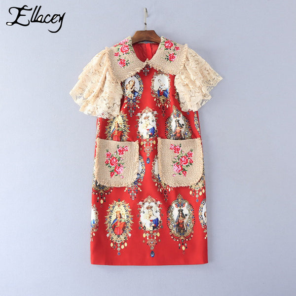 Brand 2017 Summer Big Pockets Dress Virgin Mary Print Floral Embroidery Dresses Women Lace Sleeve Straight Party Dresses