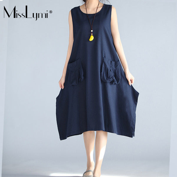 MissLymi M-XL Plus Size Women Dress 2017 Summer Simple style korean O-neck sleeveless Irregular Big Pockets vest Midi Dresses