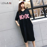 USWMIE 2017 Spring New Casual Pockets Hooded Loose Leisure Women Dress Solid Color Personalized Short Sleeve Plus Size Vestidos