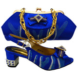 Smart handbag match shoes in one set 2017coralline royal blue color metal cover in the heel Italian shoes and bags matching set