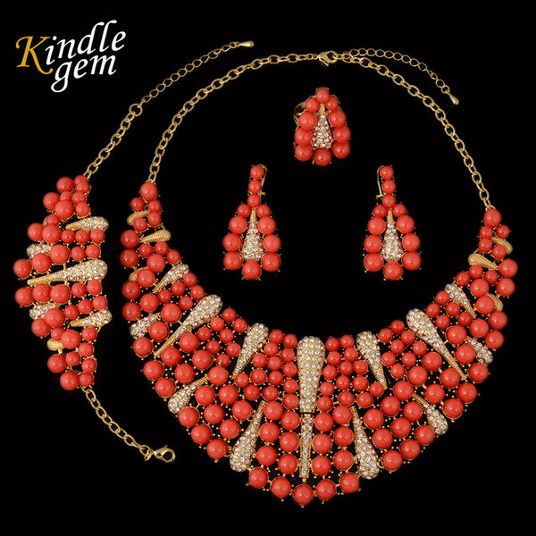 jewelry set - Fashion accessories ,clothing, jewelry, Big Nigerian Wedding African Beads Jewelry Set Exquisite Dubai Gold Plated Costume Design Luxury Filled Red Beads Necklace - clothing, Gorgeous things online - gorgeous things online