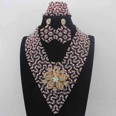 jewelry set - Fashion accessories ,clothing, jewelry, 2017 Hot Sale Garnet Crystal Beads African Jewelry Sets earrings Plated Women Wedding Party Necklace Set Free Shipping W13956 - clothing, Gorgeous things online - gorgeous things online
