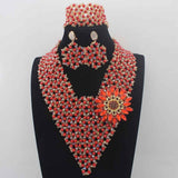 2017 Hot Sale Garnet Crystal Beads African Jewelry Sets earrings Plated Women Wedding Party Necklace Set Free Shipping W13956