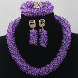 New Lilac Purple Seed Bead African Jewelry Sets Wedding Jewellery Accessories Gold Plated Chunky Jewelry Set Free Shipping WD231