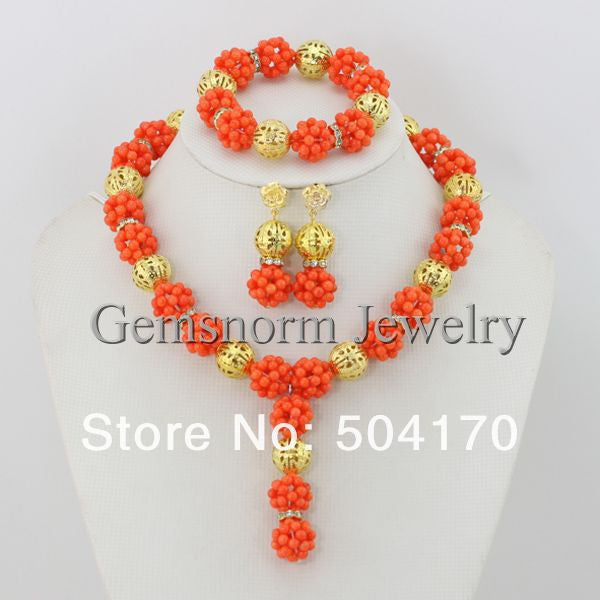 Handmade Wedding Coral Beads Jewelry Set Indian Jewelry Bride Beads Sets African Jewelry Sets CNR073