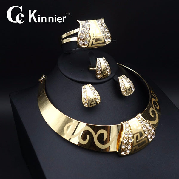 11.11 Fashion Dubai Gold Plated Jewelry Sets Crystal Classic Necklace ring Nigerian Wedding African Beads Jewelry Sets