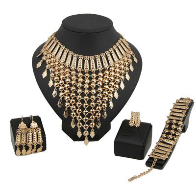 jewelry set - Fashion accessories ,clothing, jewelry, Dubai Bridal Wedding Gold Plated Rhinestones African costume Jewelry Sets Indian Women Tassels Necklace Earrings - clothing, Gorgeous things online - gorgeous things online