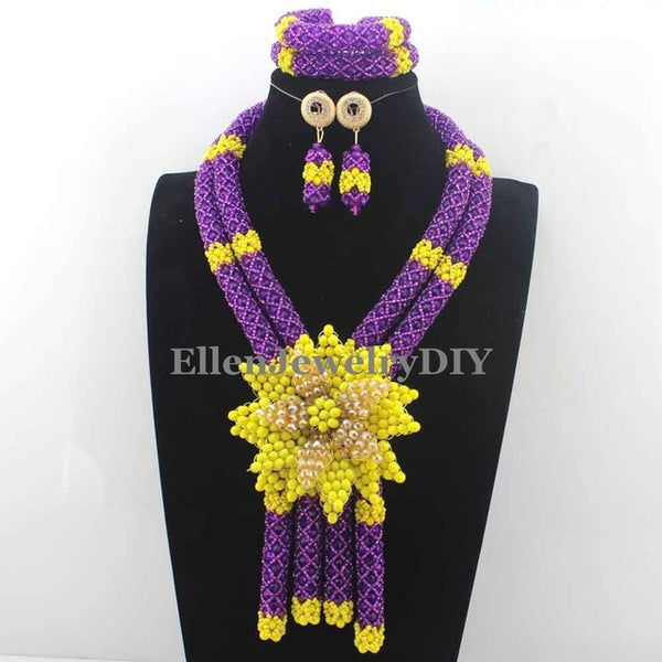 Shinny Colorful Flower Pendant Statement Necklace Set Bridal Beads Costume African Jewelry Set Free Shipping W13026