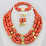 Free Shipping! 2017 Fashion Red Coral Beads Jewelry Set Charms Red Twisted Strands African Jewelry Set High Quality CNR132