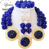 Luxury Opaque Yellow Crystal Ball women necklaces costume jewelry nigerian wedding african beads jewelry set ABC864