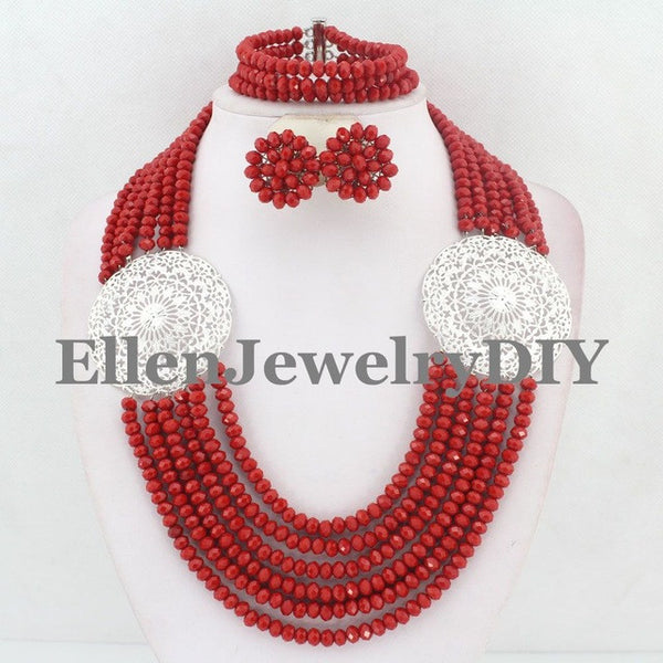 Red African Beads Jewelry Set Crystal Beads Necklace Set Nigerian Wedding African Jewelry Set Crystal Jewelry Set  E1039