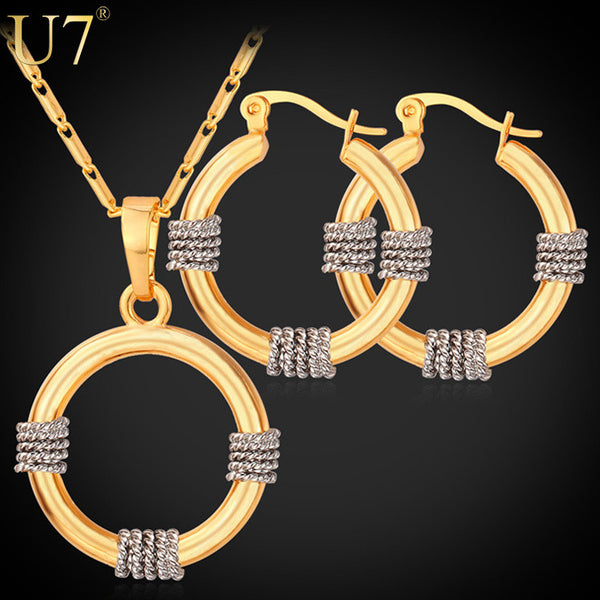 U7 African Jewelry Set Gold Plated Unique Necklace Set Trendy Round Necklace Earrings Jewelry Set Women S662