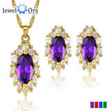 Fashion African Jewelry Set  Gold Plated Jewelry Purple Amethyst Zirconia Sets For Women New 2014 (JewelOra JS100358)