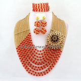 Big Promotion African Beads Jewelry Set Nigerian Wedding African Jewelry Sets Crystal Beads Jewelry Sets  E1034